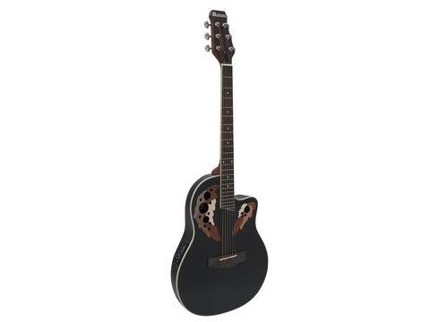 DiMavery OV-500 Roundback Guitar, Sort