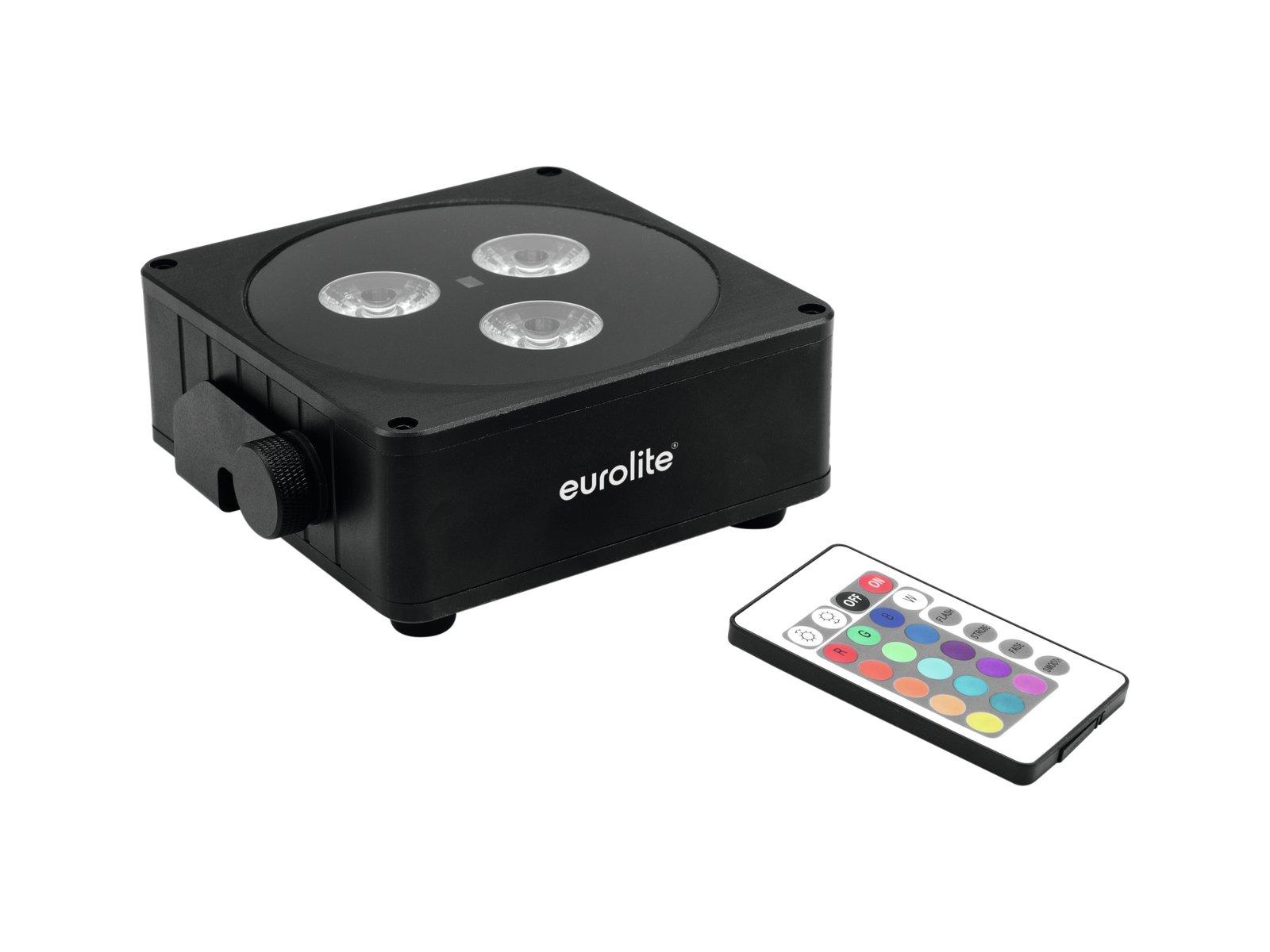 Image of   Eurolite AKKU Flat spotlight 3x8W RGBW LED - med QuickDMX sender/modtager Sort
