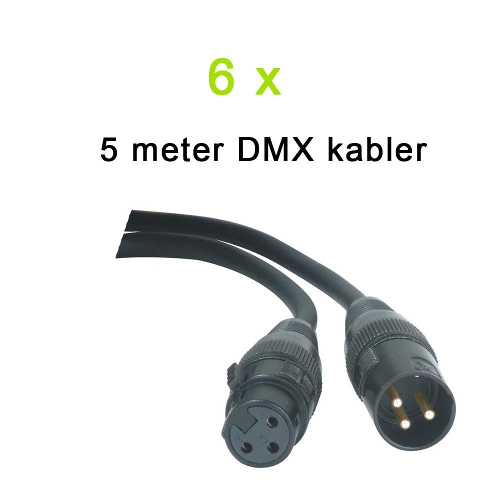 DMX Kabel Pakke, 6 x 5 meter