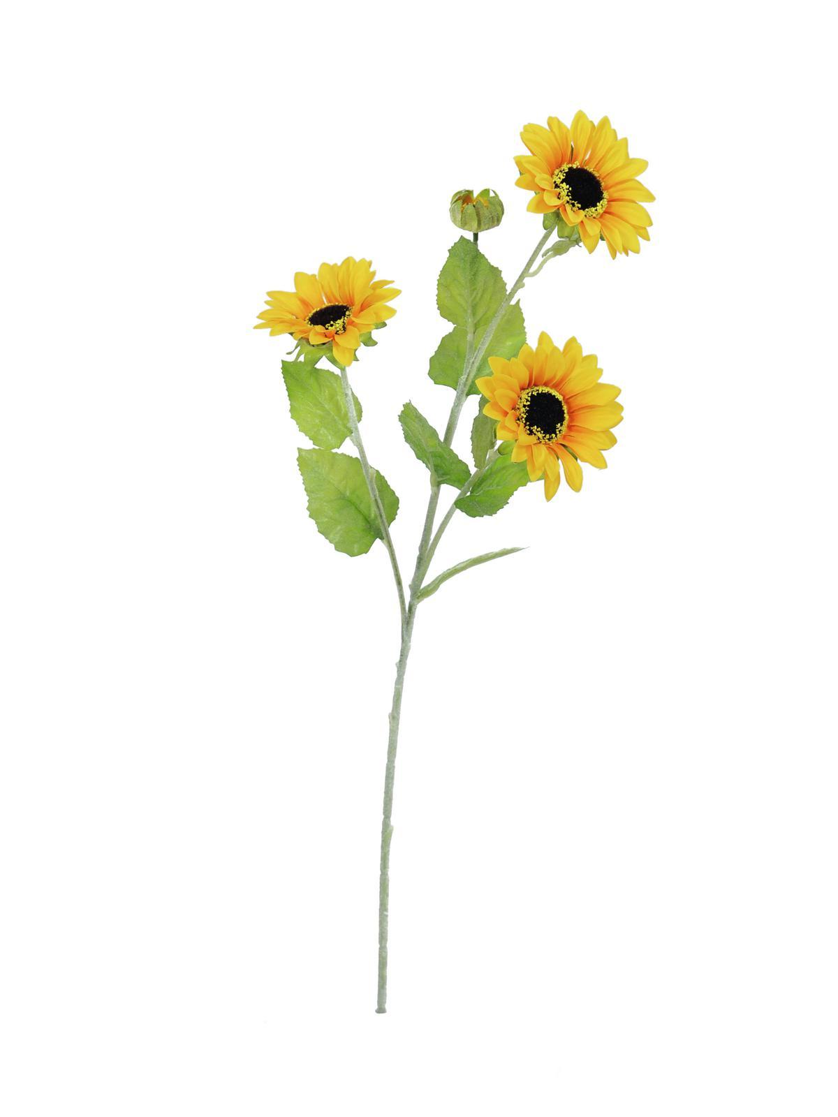Kunstig  Solsikke, 3 grene, 70cm