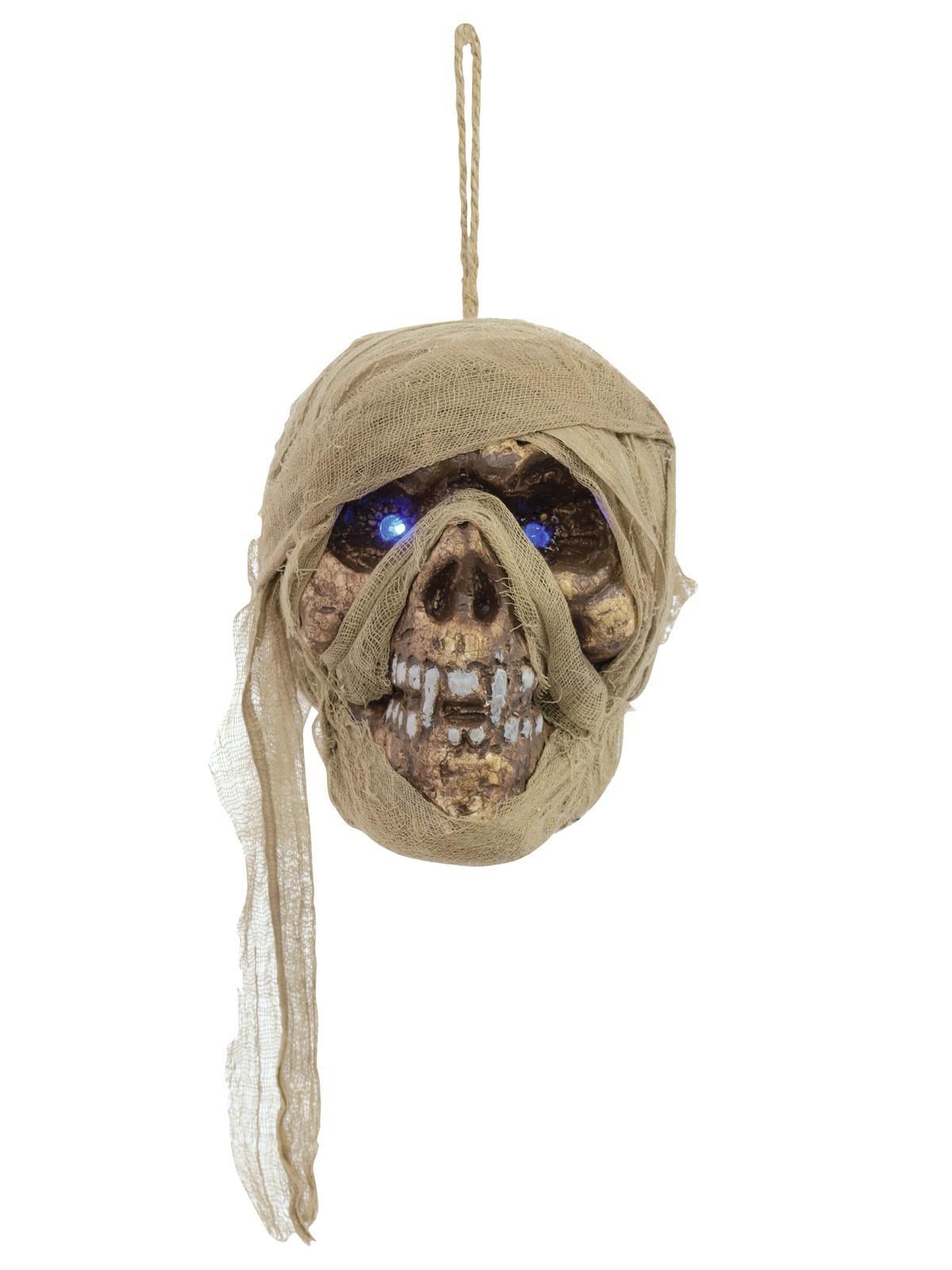 Image of   Halloween mumie kranie med glødende blå øjne