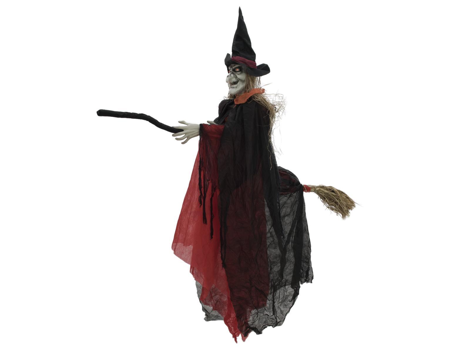 Image of   Halloween animeret heks på sin kost, 170 cm