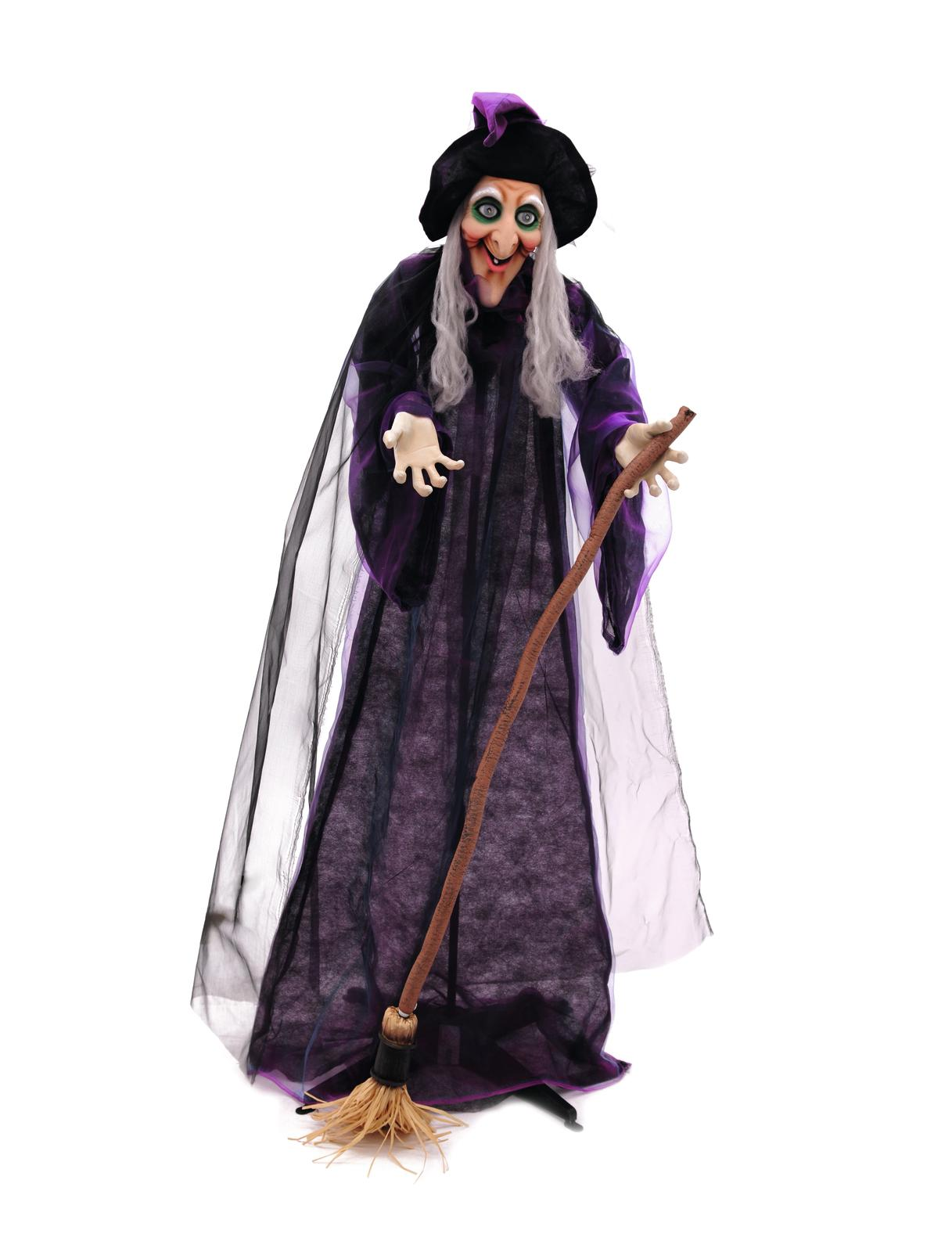 Image of   Halloween animeret heks med kost, 175 cm