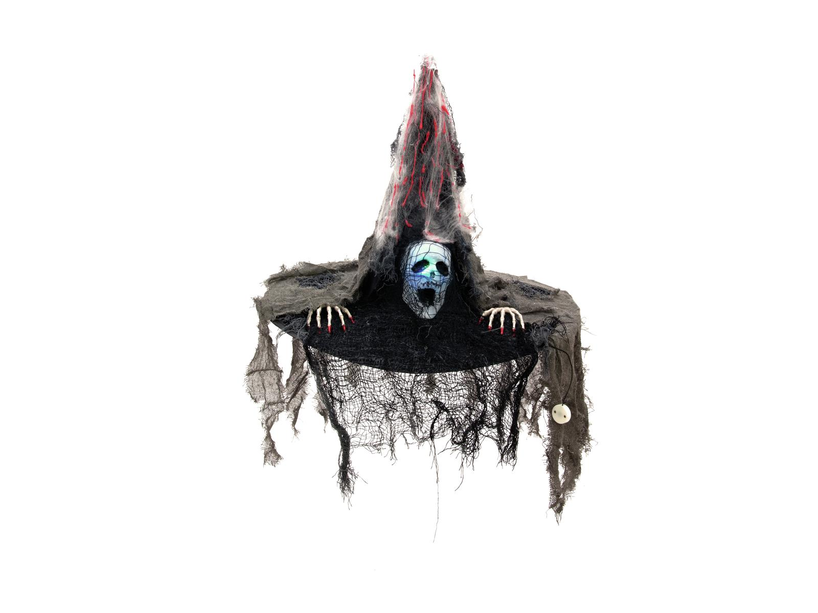 Image of   Halloween Heksehat med lysende ansigt