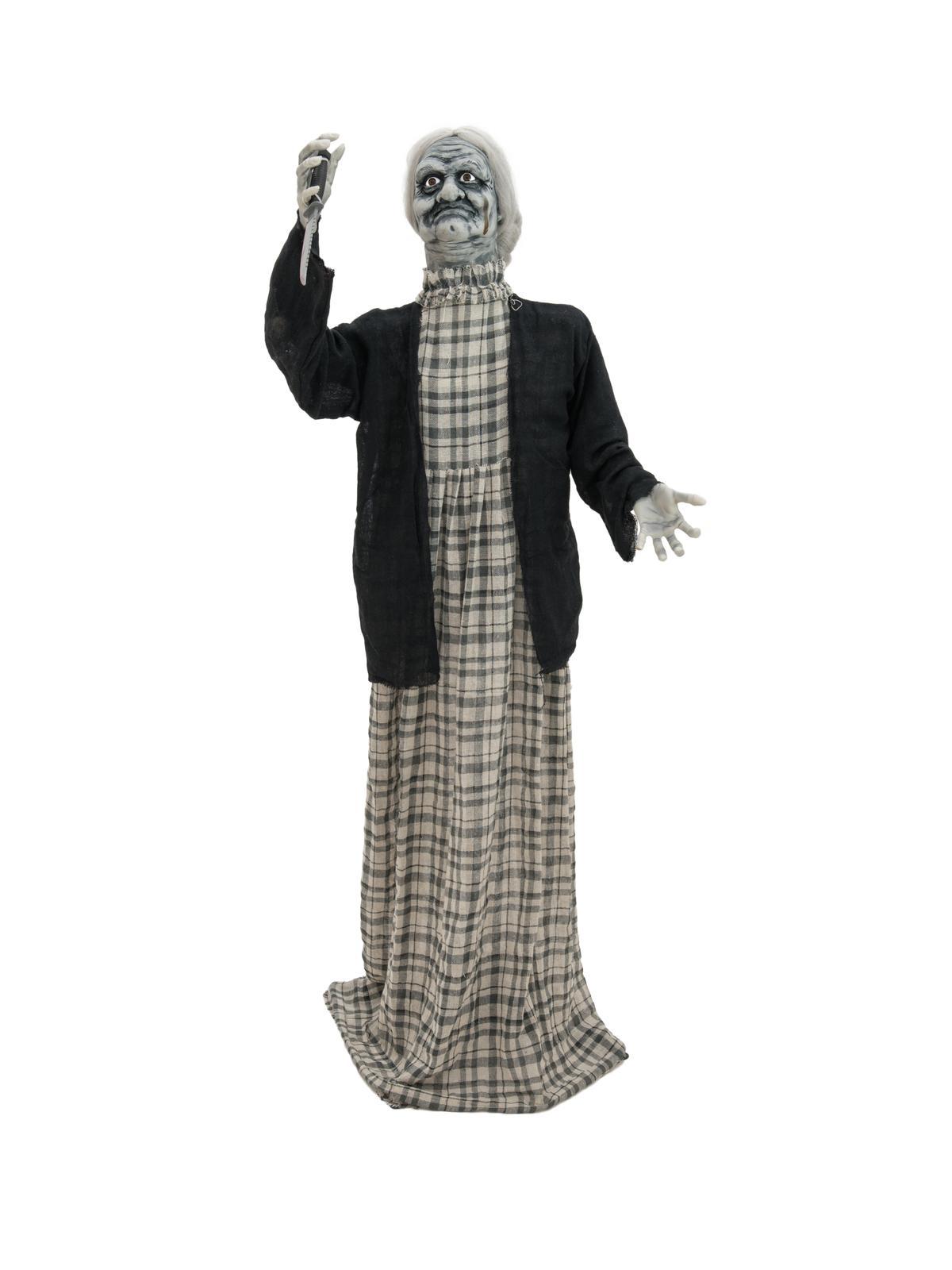 Image of   Halloween animeret zombi kvinde med kniv, 165 cm