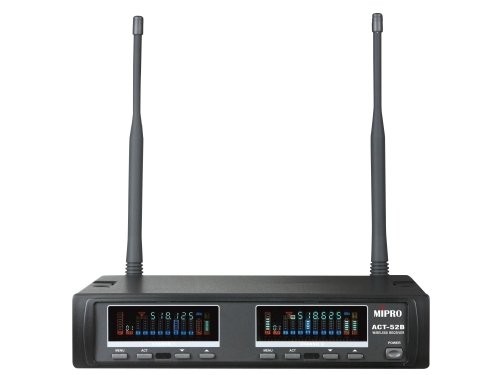 Image of   Mipro trådløs mikrofon modtager 2 kanals frekv. 644-668 MHz