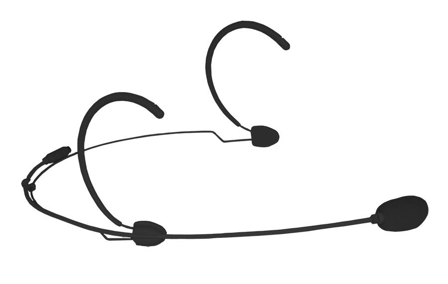 Audac headset mikrofon nyre, med multistik Sort