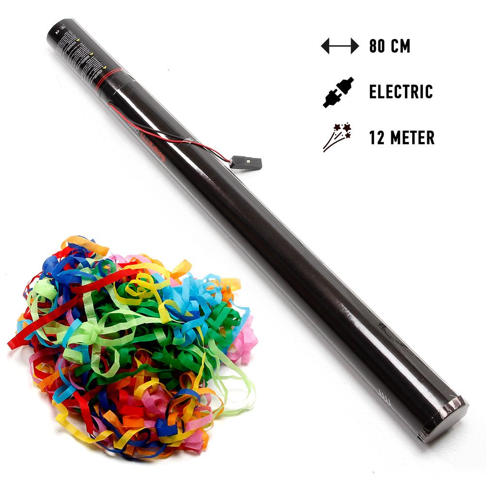 Elektriske Konfettirør 80 cm. med 10 m papirstreamers 80 cm. Mix