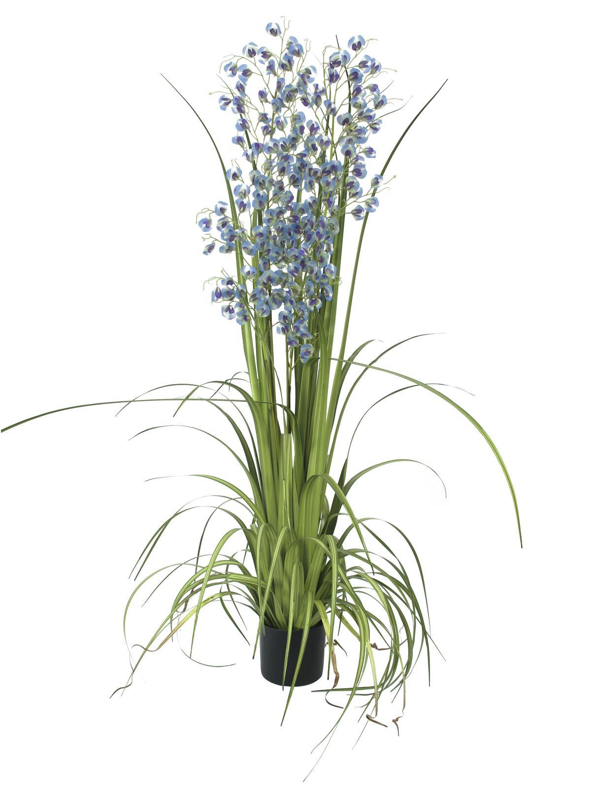 Image of   Kunstig blå/lilla græs Orkidé, 140 cm