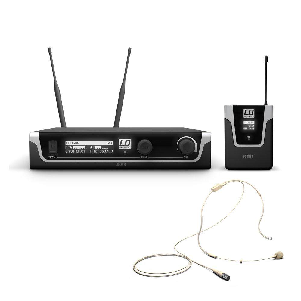 LD Systems U508 BPHH - Trådløs mikrofon med Bodypack og hudfarvet Headset