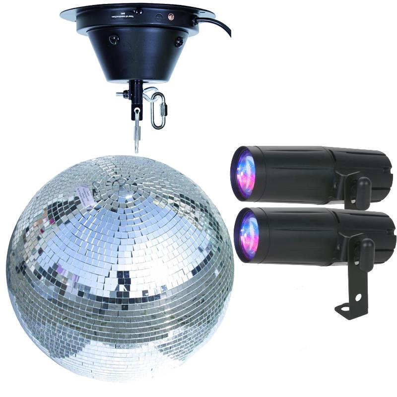 Image of   Komplet spejlkugle sæt 50 cm med LED RGBW spot