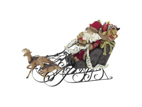 Image of   Christmas sleigh, with reindeer, 75cm