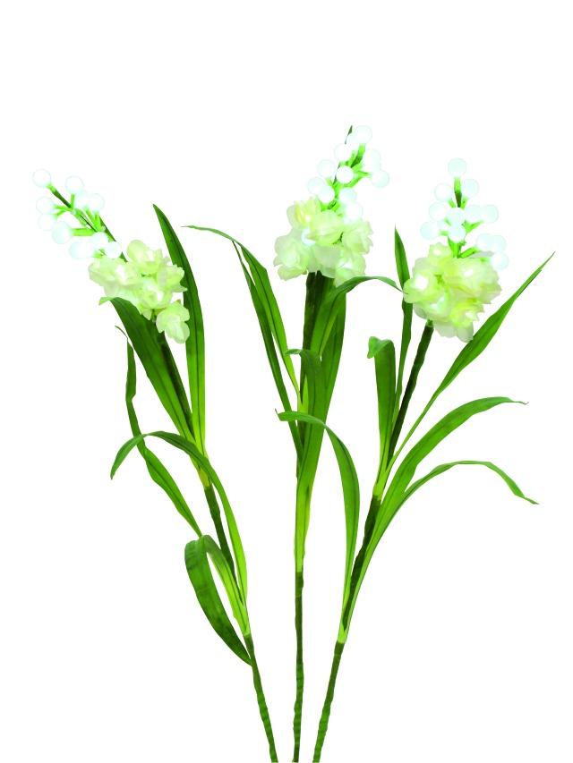 Kunstig  Arum sæt, 3 grene m. LED, hvid, 85 cm