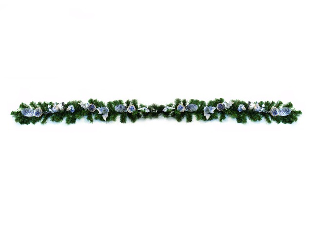 Image of   Christmas garland, silver-blue, 180cm
