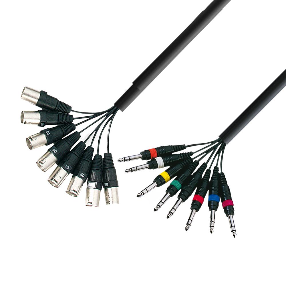 Image of   Multikabel 8 x XLR Han til 8 x 6.3 mm Jack stereo 3 meter